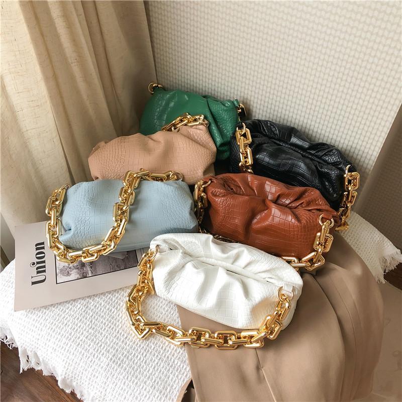 Patrón de la piedra pequeña PU axila bolsas de cuero para las mujeres 2020 del bolso de hombro bolsos de viaje femenino partido de la señora gruesa cadena