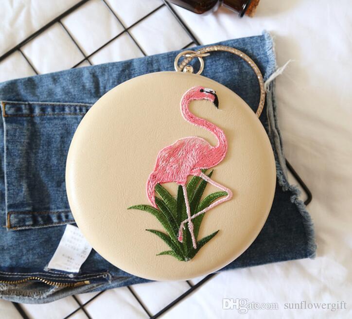 Gestickte Flamingo Runde Box Damen Abendtasche Weibliche Umhängetaschen Für Frauen Party Tageskupplungen Geldbörse Hochzeit Abendessen Tasche