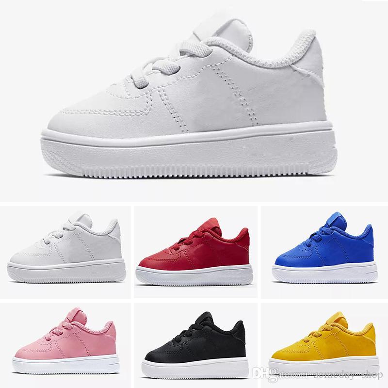 Nike air max force fly 2018 de calidad superior NUEVOS niños de moda los zapatos para correr blancos bajos altos superiores Zapatillas de skate hombres Mujeres unisex amor negro