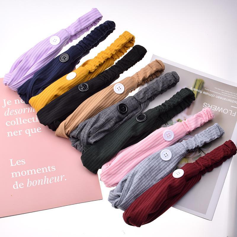 Sport Maschera Hairbands con il tasto del Knit solido dell'orecchio colori Protect fasce Palestra Yoga Fascia per capelli per le donne Capelli Accessori 1 8fb E19