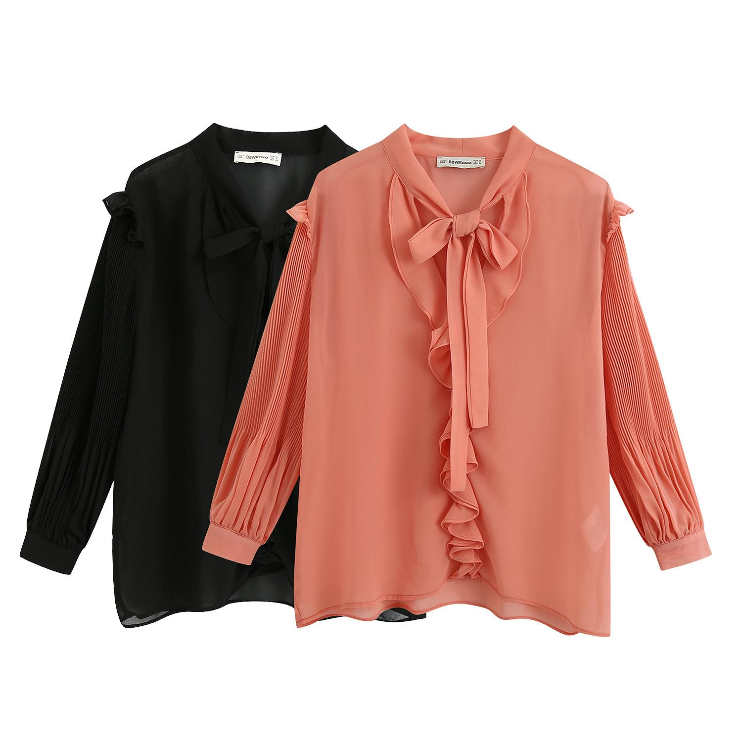 Women Sexy Bow Tied Collar Fashion Casual Chiffon Blouse Shirts 2020 New Work Office Business Long Sleeve Shirts Chic Tiered Decorate Tops