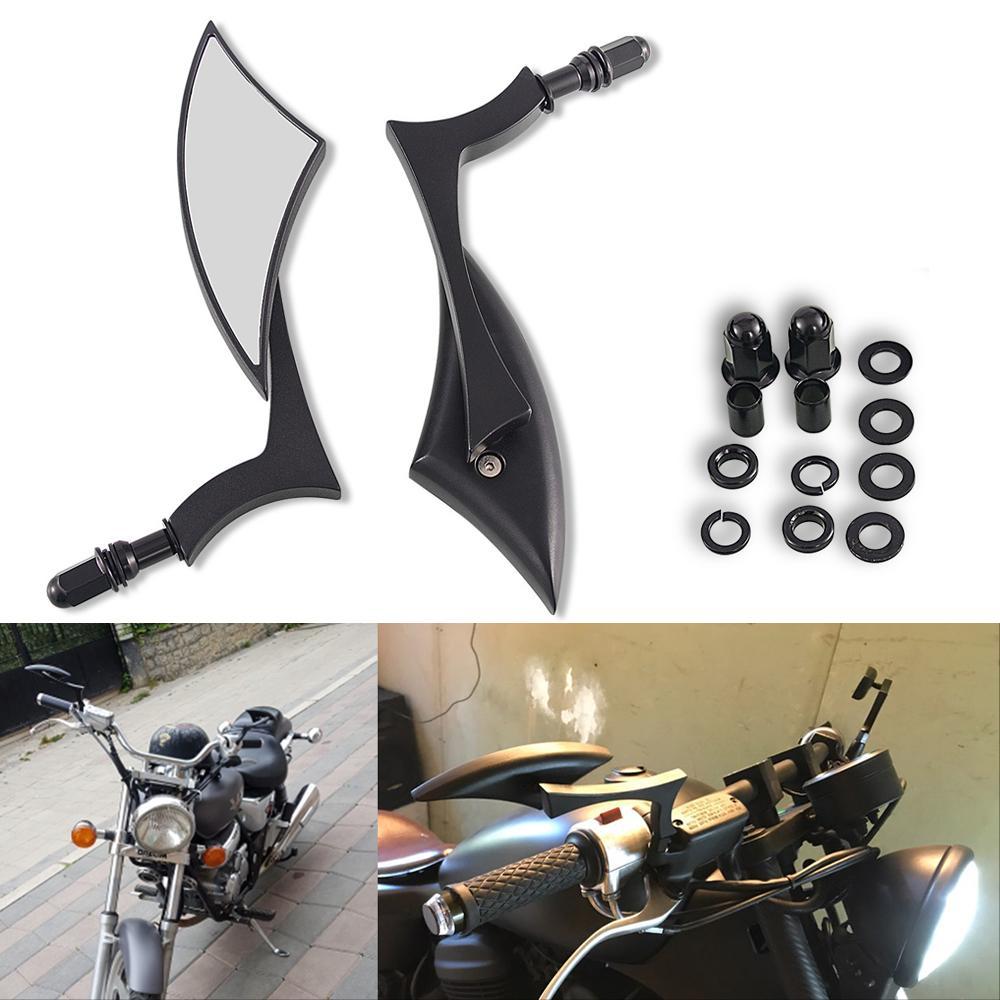 8 mm Vue arrière Miroir Noir moto pour 883 1200 Iron 883 Softail Dyna Fatboy moto Vue arrière Miroirs