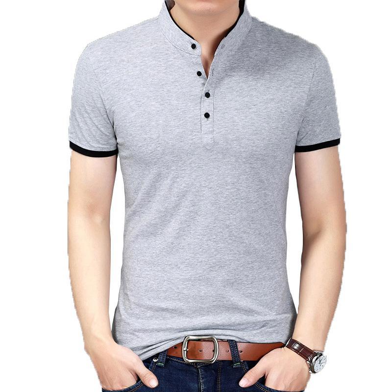 2019 été nouveau t-shirt à manches courtes hommes pur coton t shirt hommes col mandarin casual t-shirts coupe slim t-shirt marque tops y19072201
