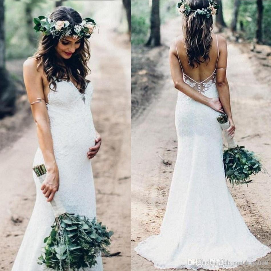 Sexy Summer Mermaid Lace Wedding Dresses Spaghetti Straps Backless Sweep Train Garden Country Pregnant Bridal Gowns Vestidos De Noiva