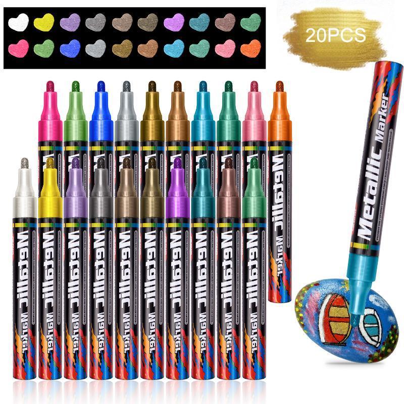 Metallisch Marker Pens Wasserdicht Permanent DIY ungiftige Marker Pens 20 Farben Graffiti Briefpapier Farbstift zurück in der Schule