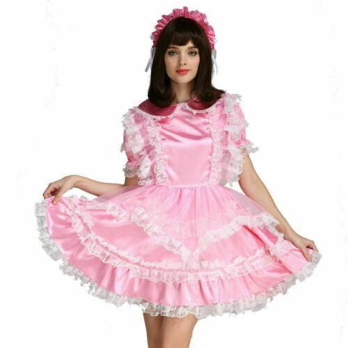 lockable Sissy boy maid satin dress cross dressers tailor-made