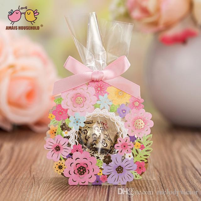 (50pcs/lot) European Design Colorful Flowers Creative Candy Gift Box For Wedding Decorations SG181906