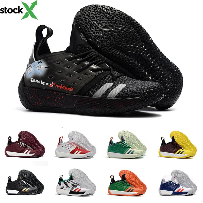Plus récents hommes blancs d'or noir James Harden Vol.2 Basketball Chaussures Hommes MVP Training Chaussures de sport rouge vert chaussures de sport Sport 40-46