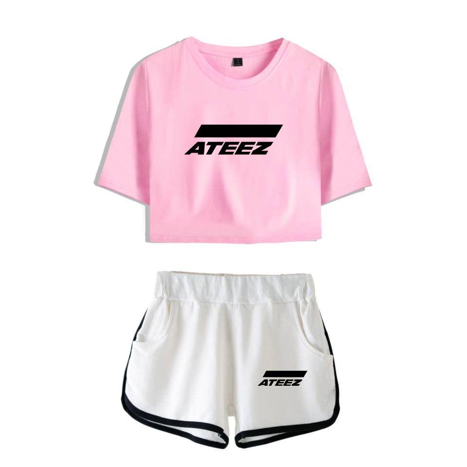 ATEEZ двухкусочных Комплекты Лета Kpop Женщина Наборы шорты и короткий рукав футболки Горячей Продажи вентиляторов Женщина Летнего Подростковая Z ATINY