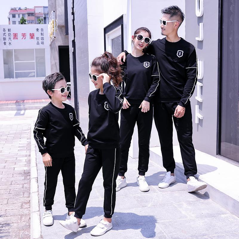 Mom Dad Daughter Son Sports Clothing Sets Mother Father Kids Boy Girls Jumper + Pants Suits 2020 Kids Tracksuit Family Match Outfits S638