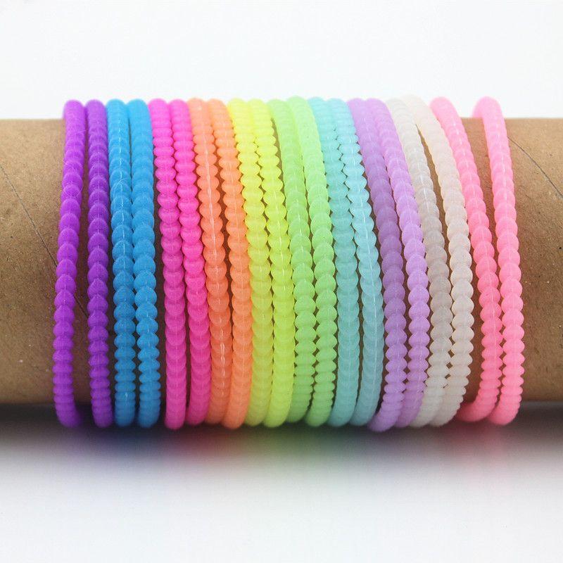 Lot 100PCS Neon Fluorescent Luminous Bracelets Wristbands Rubber Gummy Hairband twist Glow Bracelets bangles MB02