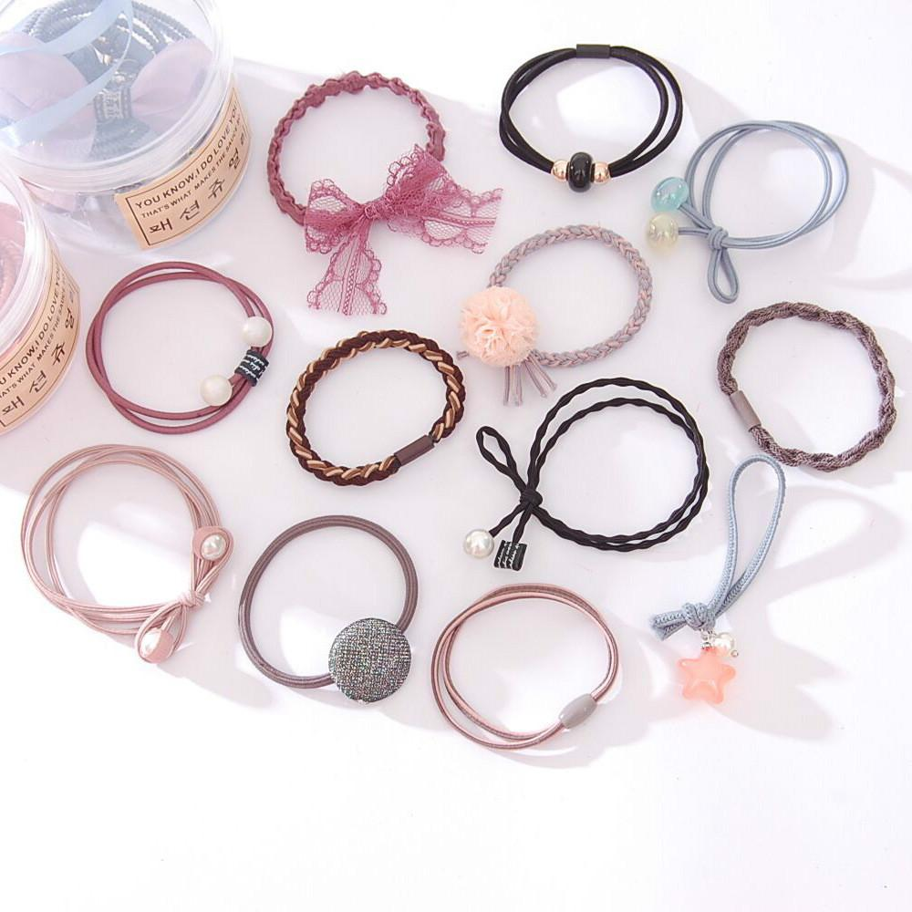 12pcs / Set Girl's Hair Loop and High Elastic Bow Flower Square Pearl Decoration Band Girl Hair Accessories