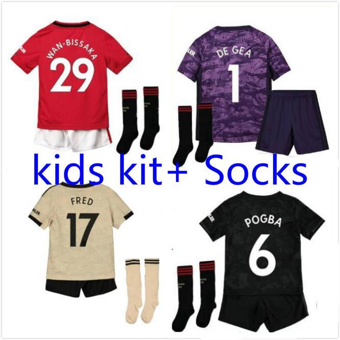 MANCHESTER Pogba maillot de football pour les enfants 2019 2020 LINGARD chemise Rashford de football UNITED UTD 19 20 maillots kit enfants uniformes maison loin troisième