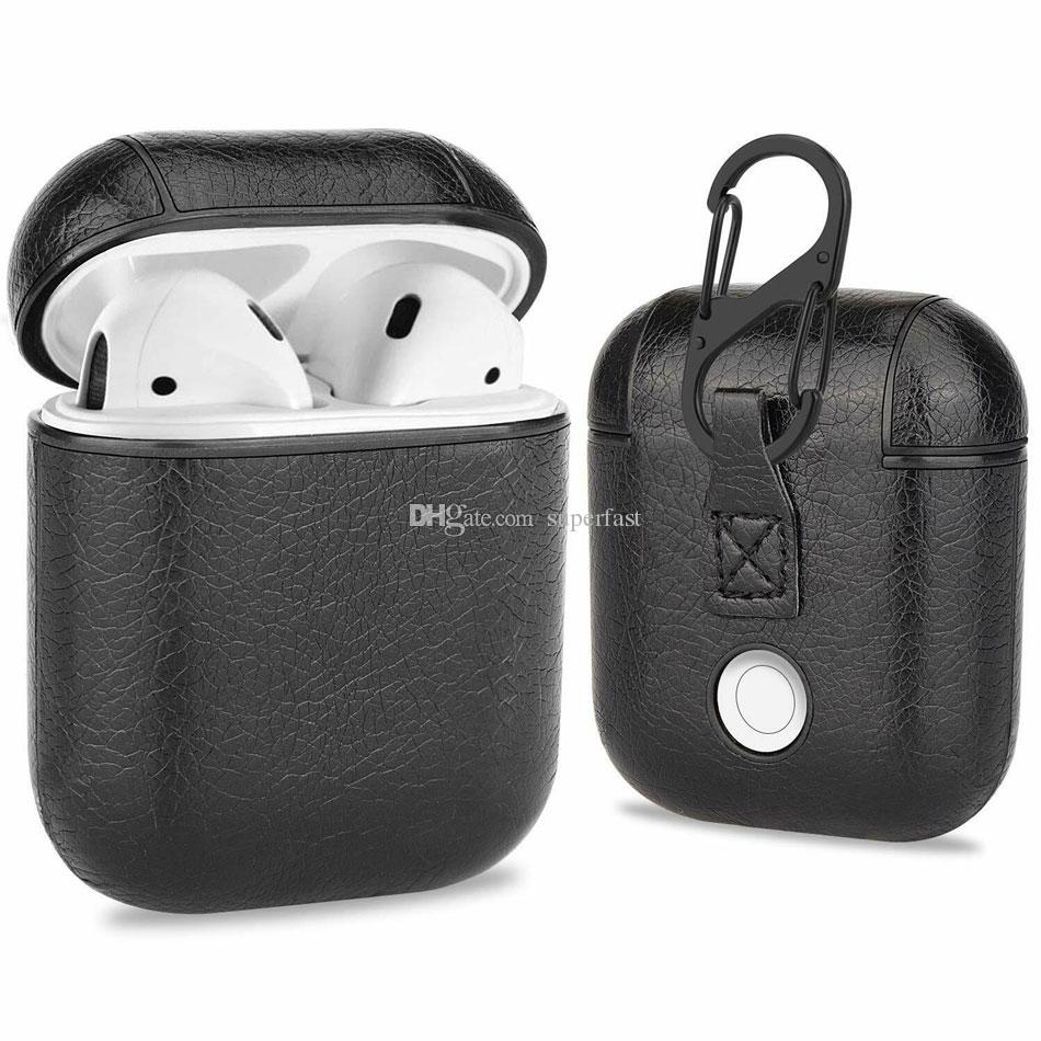 Для Apple AirPods Кожа PU Беспроводные наушники Защитный чехол держатель Shell Крышка зарядный случаи с крючком с розничной коробкой