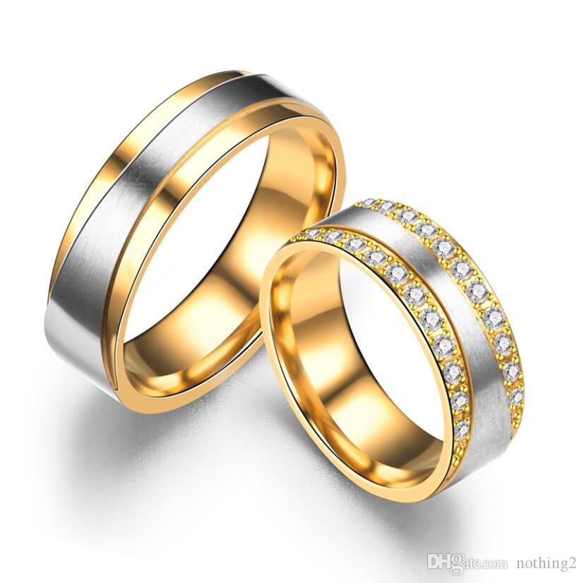 보석 티타늄 스틸 커플 반지 커플 핫 패션 스테인레스 스틸 밴드 반지 간단한 지르콘