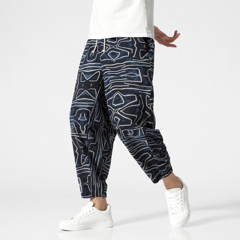 tamaño Streetwear hombres del estilo tradicional grandes del verano Pantalones Casual tobillo-longitud de impresión 2020 Nuevo Hip Hop sueltas macho Plancha