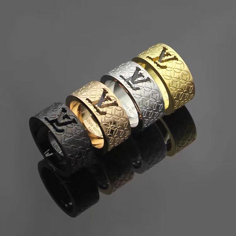 Luxus-Designer-Schmuck Frauen Ringe aushöhlen Buchstaben Diamantring Titan Stahl Silber Roségold 18 Karat Gold Verlobungsringe für Frauen