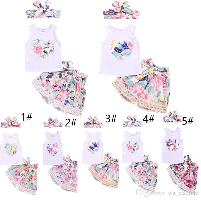 Summer Baby Clothes Gril's Sleeveless Vest T-shirt With Printed Flower+Pants With Floral Pattern+Bandeau 3 pcs 1 Sets