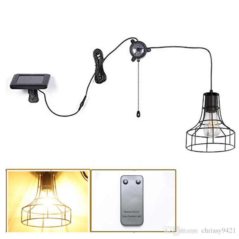 Solar Pendant Barn Light Retro Garage Lampshade Bulb With Pull Cord Outdoor Indoor Solar Hanging Shed Light for Garden Patio Home