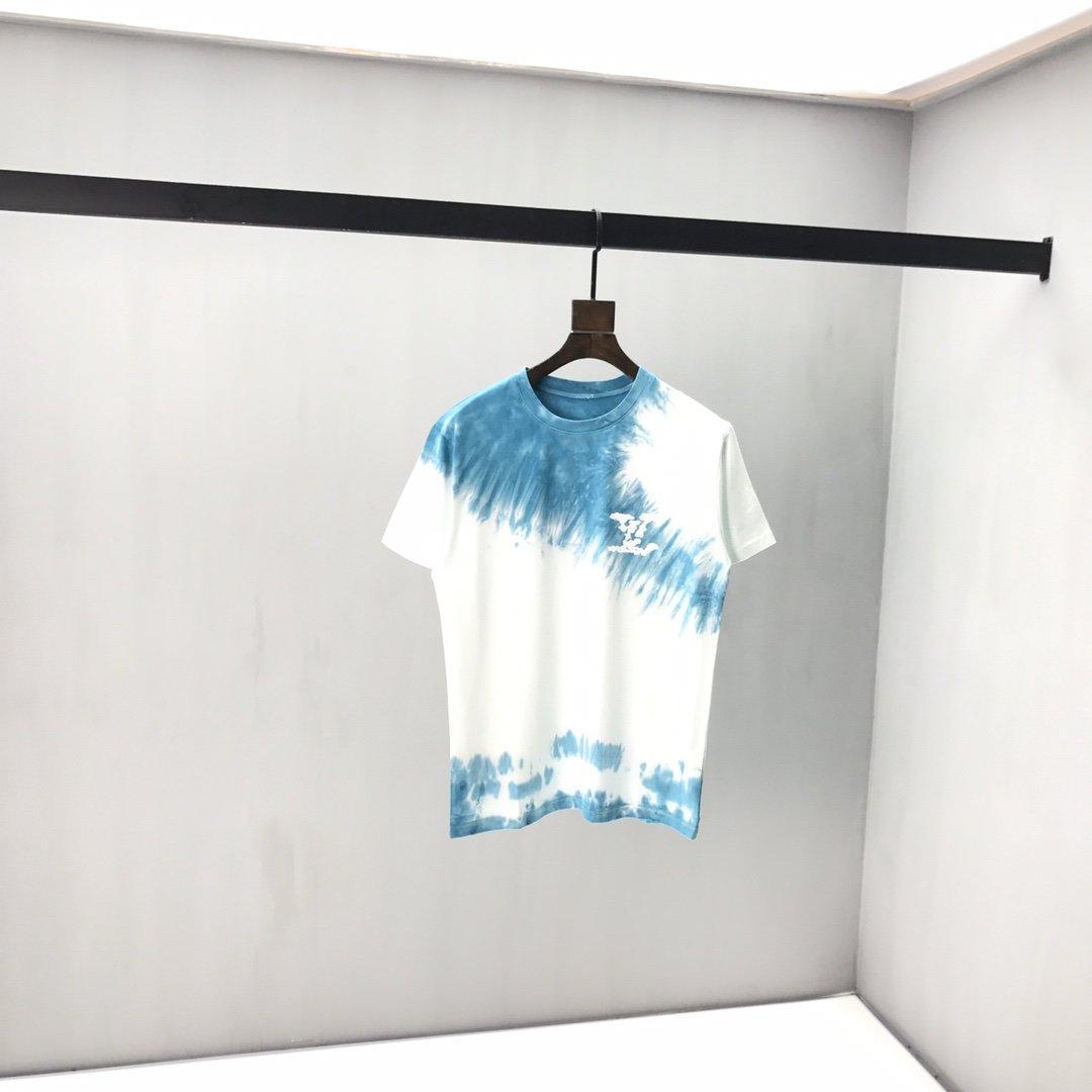 2020 프랑스어 봄과 여름 패션 낙서 알파벳 인쇄 혼합 코튼 T 셔츠 파리의 남성 디자이너 고품질의 느슨한 캐주얼 T 셔츠