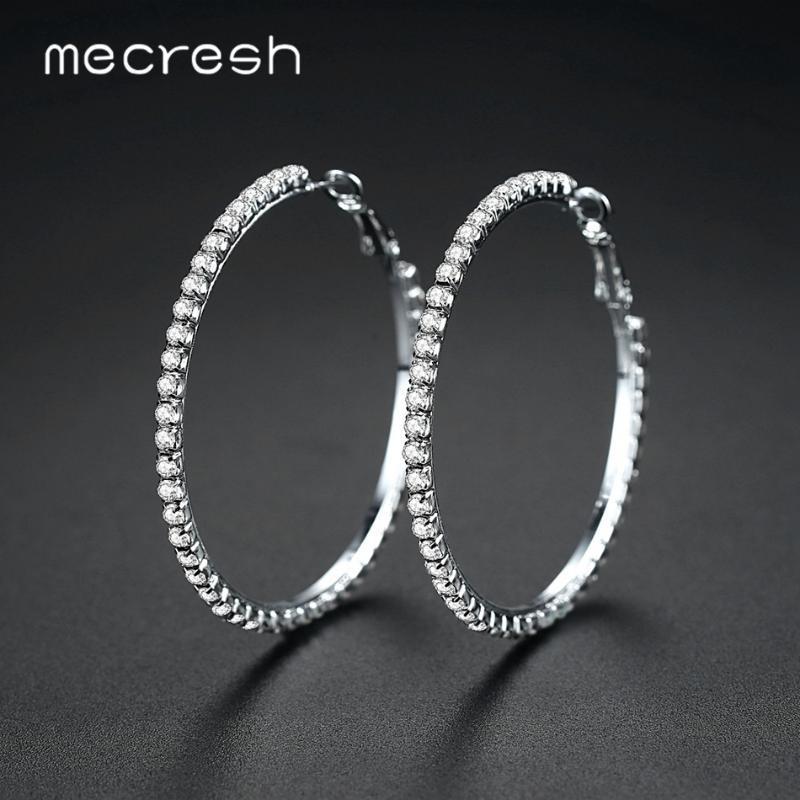 Mecresh 클래식 빅 라운드 원형 후프 귀걸이 크리스탈 라인 석 간단한 실버 로즈 골드 블랙 컬러 여성 귀걸이 EH1371