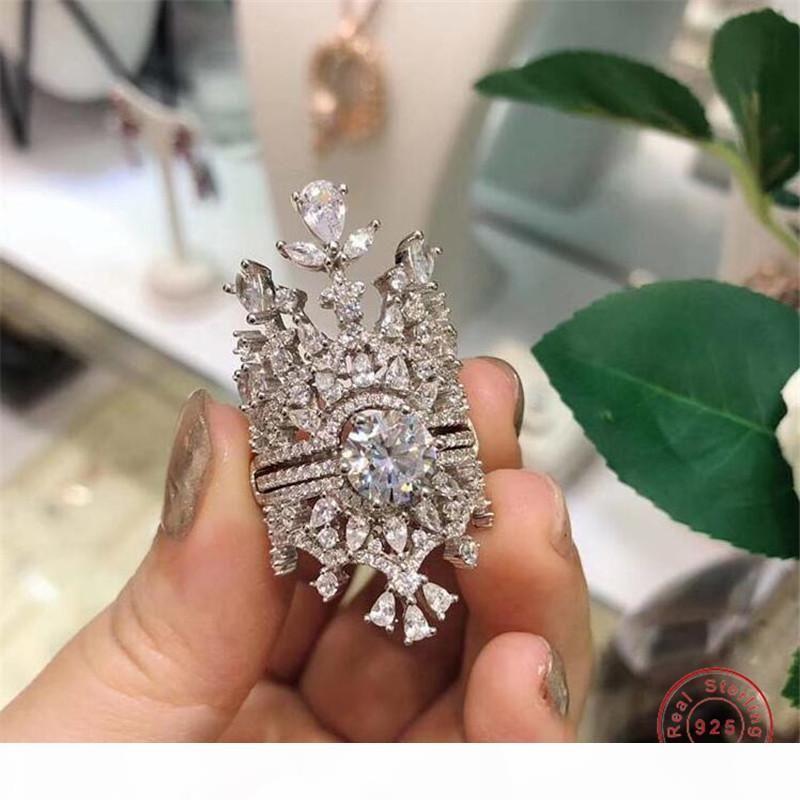 Clásica joyería de lujo anillo de la corona 100% 925 Fine gota del agua del diamante Las piedras preciosas 2 EN 1 Las mujeres novia de la boda Anillo Set de Regalo