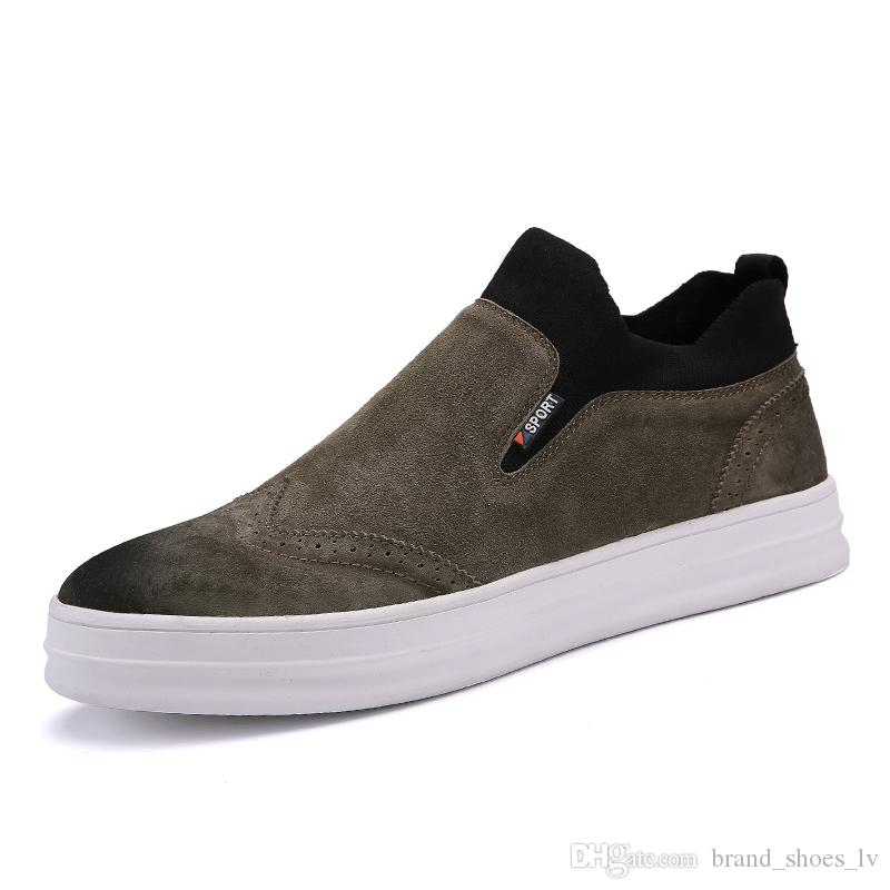 size 793 New 2019 Canvas Shoes Style Top Arrived Shoes Cool Men Shoes Round Toe Lace Up Loafers soft Moccasins slippers driver Driving Good