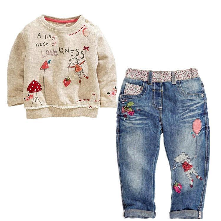 بنات مجموعة ملابس الربيع أزياء الخريف 2PCS 1-6Y الاطفال O-الرقبة تي شيرت جينز ملابس الأطفال مجموعة