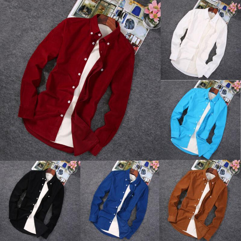 Men's Autumn Spring Shirt Long Sleeve Corduroy Shirts Top Slim Hot Sale Fashion New Shirt