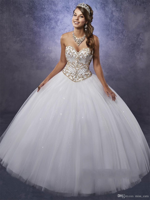 Elegant White Quinceanera Dresses with Gold Beads Embellished Bodice and Free Bolero Beading Tulle Beautiful Sweet 15 Dress