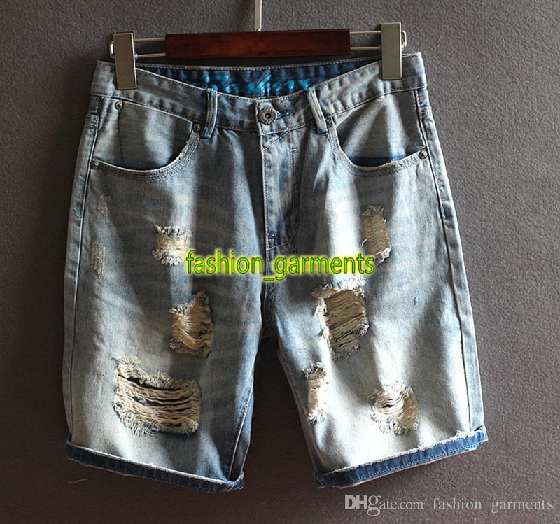 2019 Nuevas camisas de los pantalones vaqueros para hombre Pantalones cortos Pantalones cortos para hombre del agujero de verano azul claro longitud de la rodilla pantalones cortocircuitos de la manera estilista