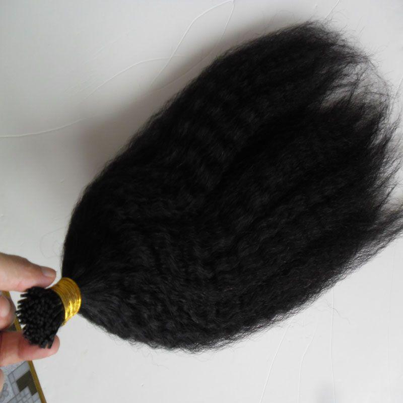 """14 """"18"""" 20 """"22"""" 24 """"grosso yaki Remy queratina i Dica kinky extensões de cabelo liso Pré Natural Cabelo Humano Extensão 100 Pieces"""