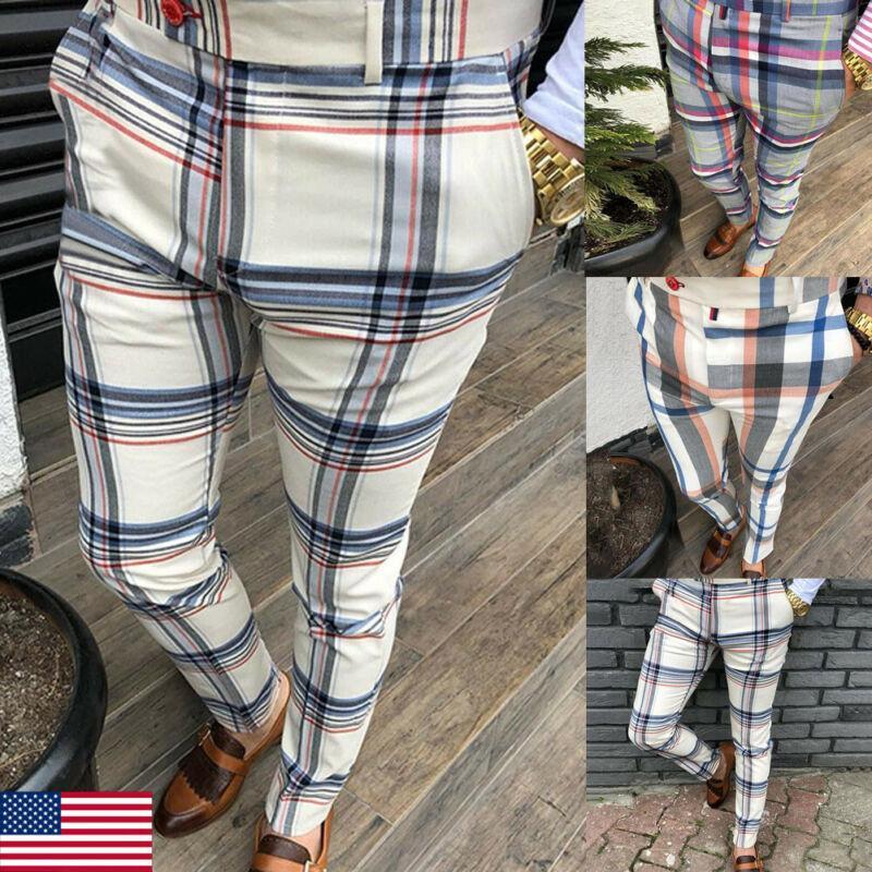 Homens Plaid Pants Ginásio Slim Fit Calças Gym inteligentes Calça Casual Bussiness longo lápis Plus Size