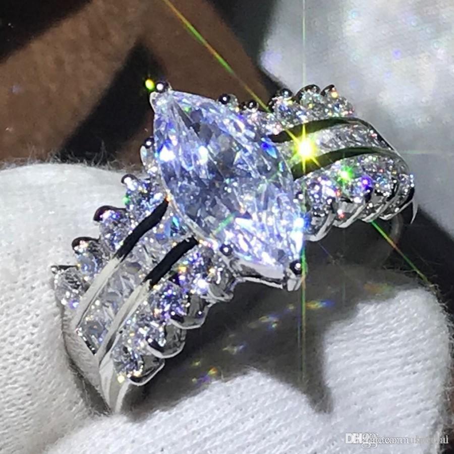 Hotyou Горячие Роскошные ювелирные изделия стерлингового серебра 925 Маркиза белый топаз Потрясающие Алмазные женщина партии Женщины обручальное кольцо для влюбленных