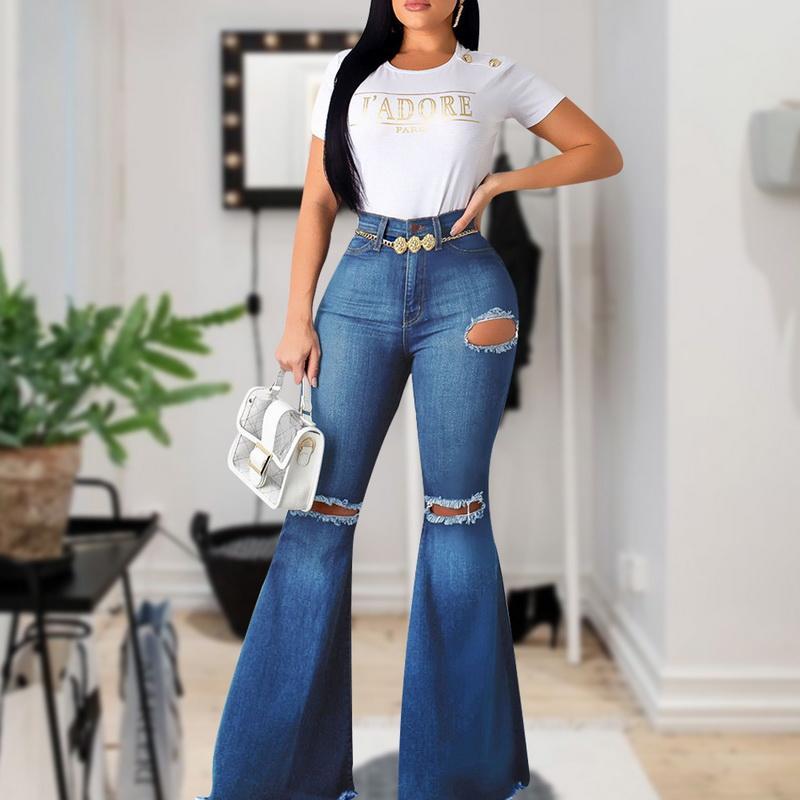 Flare-Bacak Kot Kadın Yeni Yüksek Bel Kot Çan Alt Ripped 2020 İçin Kadın Denim Sıska Anne Geniş Bacak Pantolon