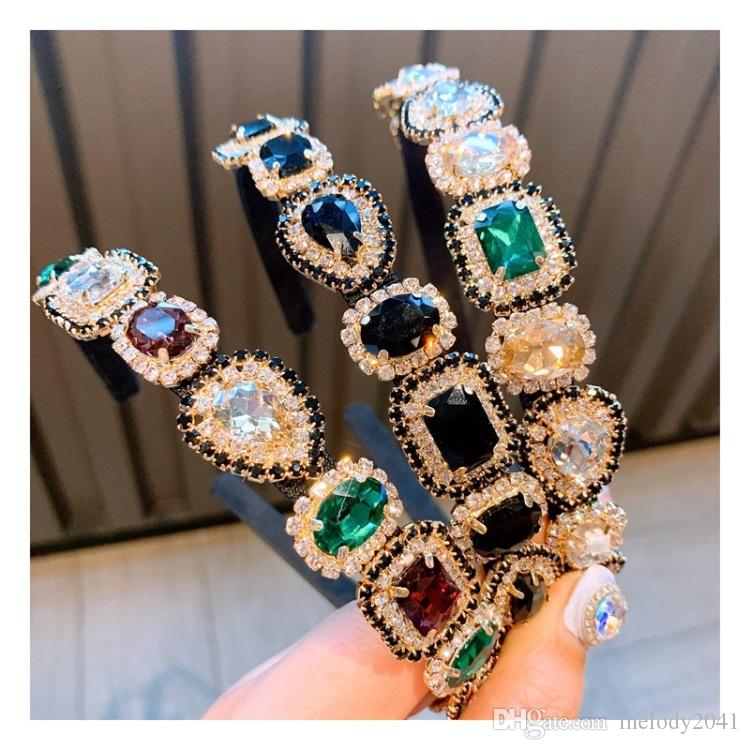 Bunte Diamant-Stirnband mit großem Edelsteine-Barock handgemachte Stirnband-Art und Weise Frauen-Schmucksachen Bling Strass Haarschmuck 3 Farben