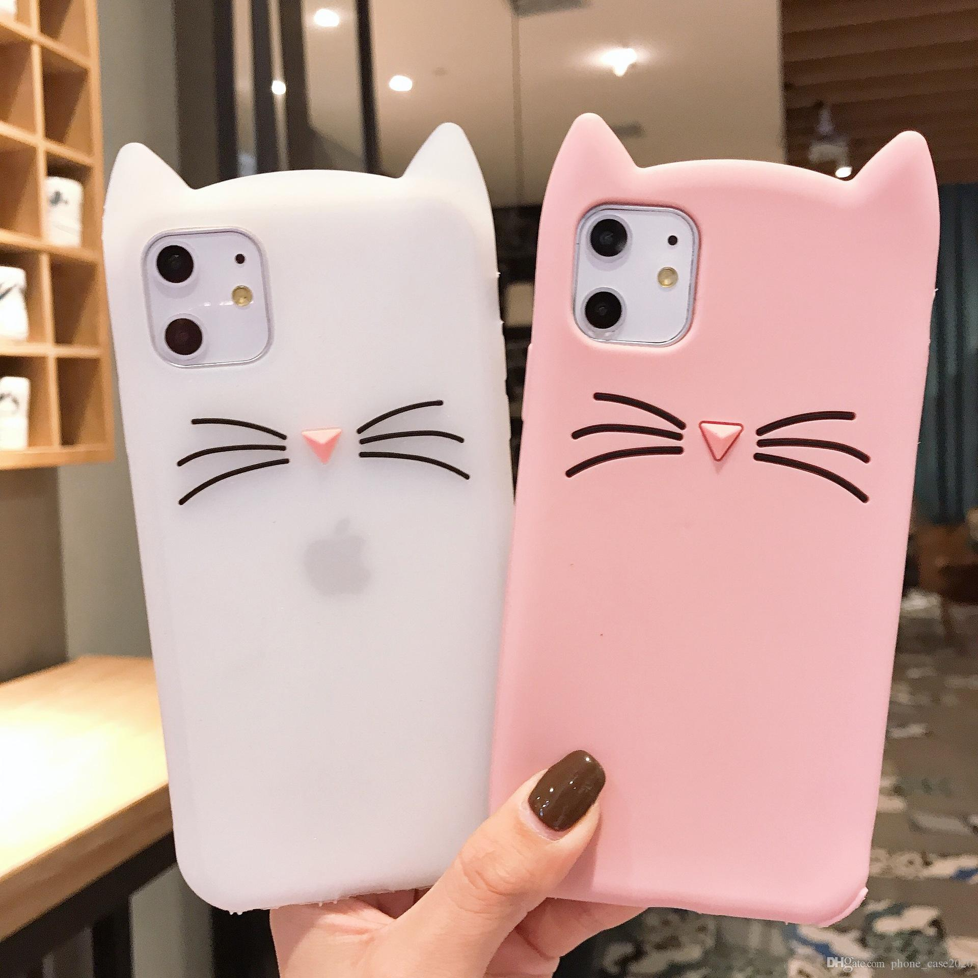 Cute Beard Cat Soft Silicone Case For IPhone 11 Pro Max XS Max XR XS X 8 7 6 S10 Plus S10E S9