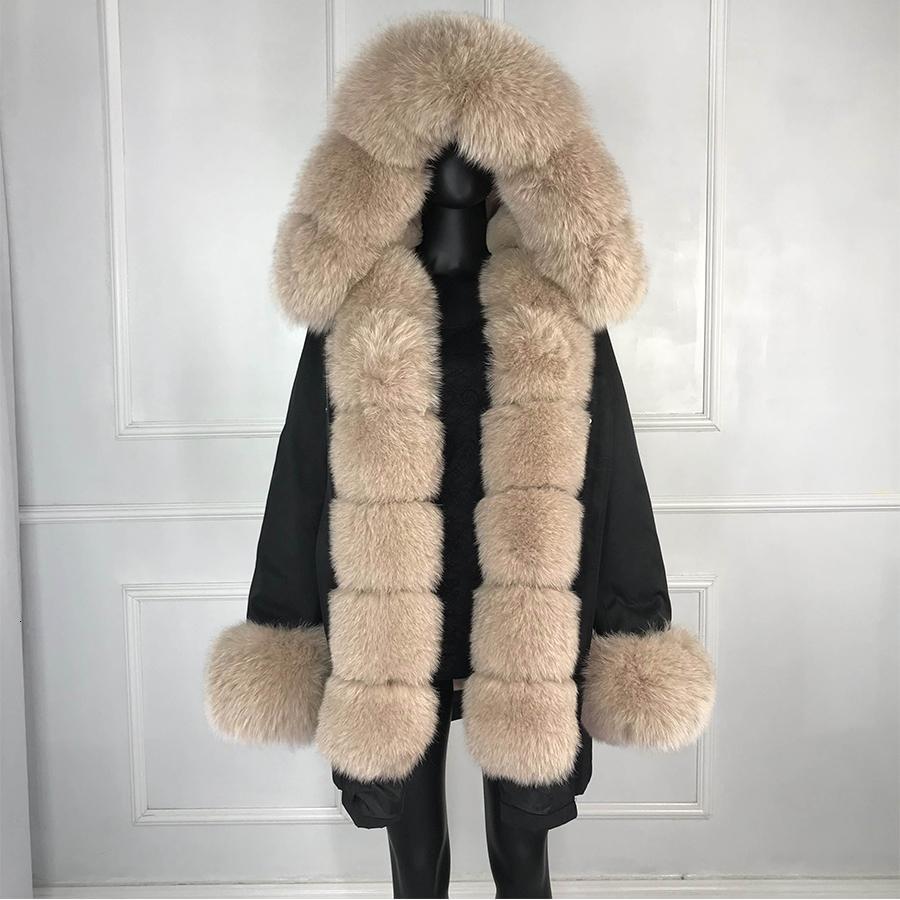 Реальный лисий мех куртка женщин внутри реального меха выстроились парки с капюшоном лисий мех женщин парки T191115