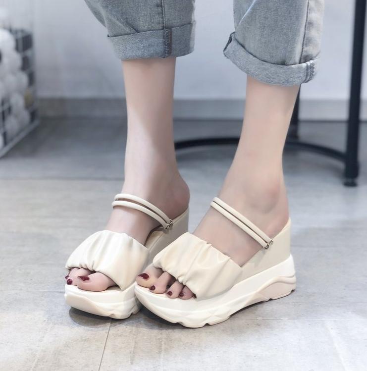 Mulheres Plataforma Verão Sandals feminino peixe boca Plataforma sapatos de salto alto cunha Lady Sexy Buckle Sandálias