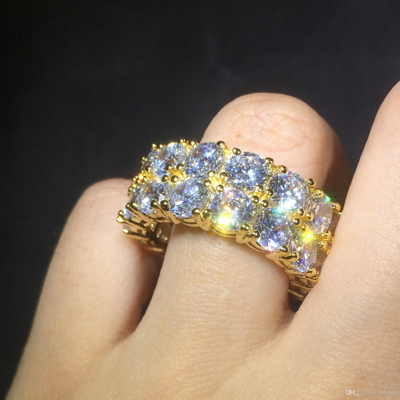 Mens Hip Hop Ring Double Row Iced Out CZ Bling Bling Tennis Ring Unisex Fashion Jewelry