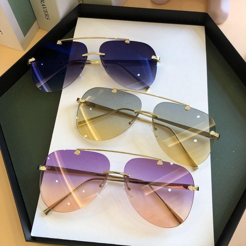 FEISHINI 2020 Brand Metal Rimless Sunglasses Men Mirror Fashion Trendy Pilot Womens Sun Glasses UV Protector Gradient Eyewear