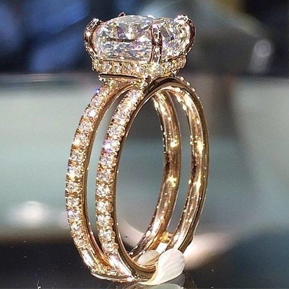 18 k Gold Doppeldecker Diamantkrone Ringe Diamant Prinzessin Amethyst Anillos De Bague Etoile Ringe Diamante Bizuteria Frauen Männer J 190430
