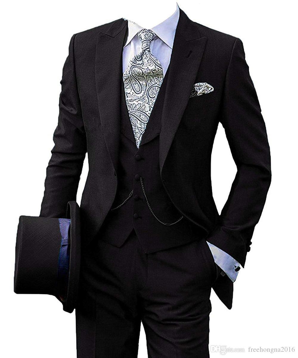 Trajes de baile vestido de novia de la personalización de gran código nuevo de la llegada del novio de los smokinges del padrino de Blazer para hombres (Jacket + pants + vest) 2XL -5XL