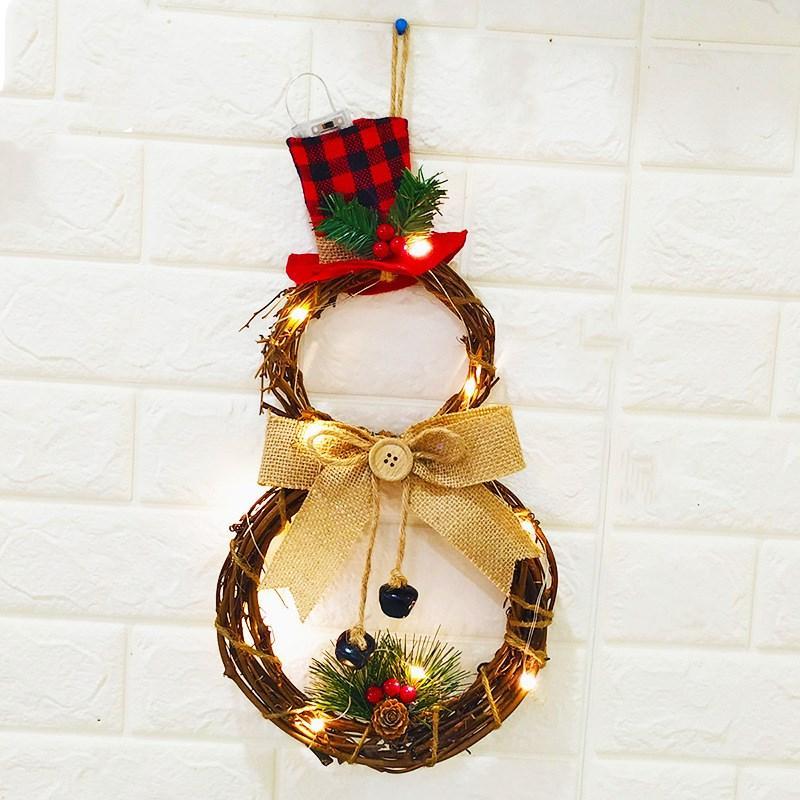 Decorações do Natal Decoração grinalda Pendant LED Wreath Recados Porta suspensão do Natal
