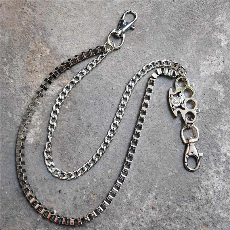 Metal 2 Layers brass knuckles Rock Punk Key Chains Clip Hip Hop Jewelry Pants KeyChain Wallet Chain Waist Chains