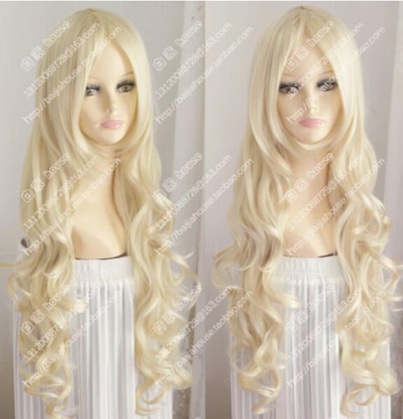 무료 배송 + ++ 새로운 가발 플래티넘 금발 긴 물결 모양의 곱슬 머리 유럽과 시골 소녀 가발