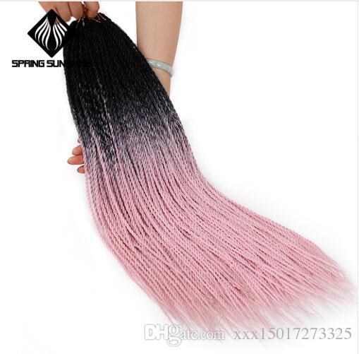 Ombre Box Braids 30roots Senegalese Twist Crochet Braid Hair Extensions Kanekalon Synthetic Braiding Hair Faux Locs