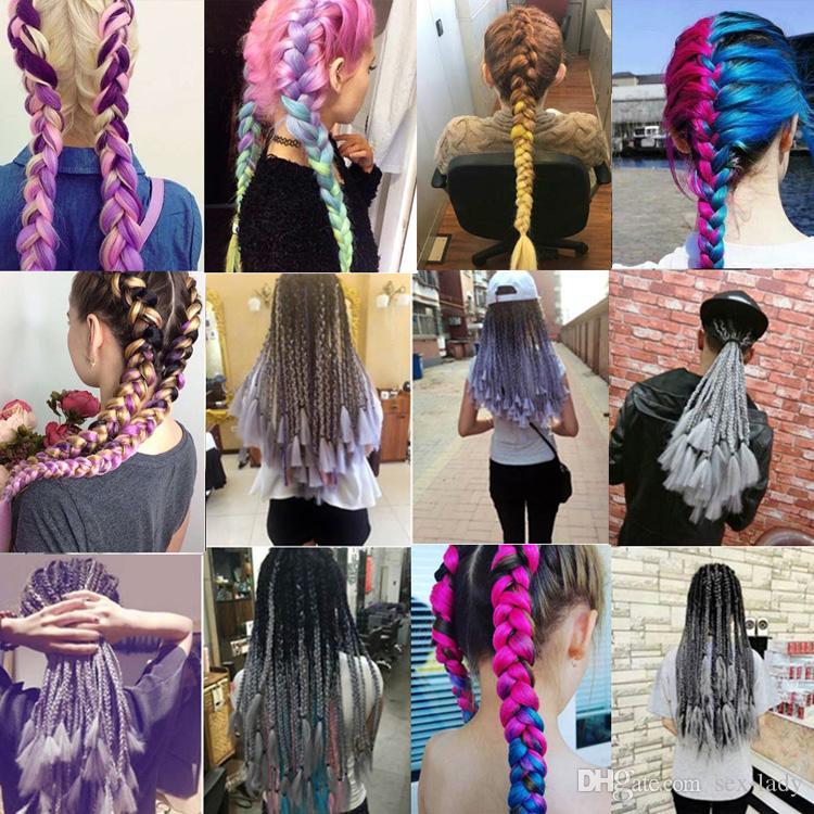Synthetic Crochet Hair Extensions Ombre Jumbo Braiding Hair 100g/Pack 24Inch Afro Bulk Hair Jumbo Crotchet Braids