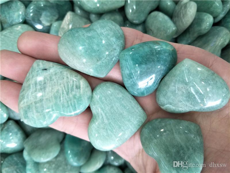 حار بيع DHX SW الطبيعية الأمازونيت حجر الكريستال القلب الأمازون الأحجار الكريمة الطبيعية الكريستال منحوتة القلب الشفاء كريستال