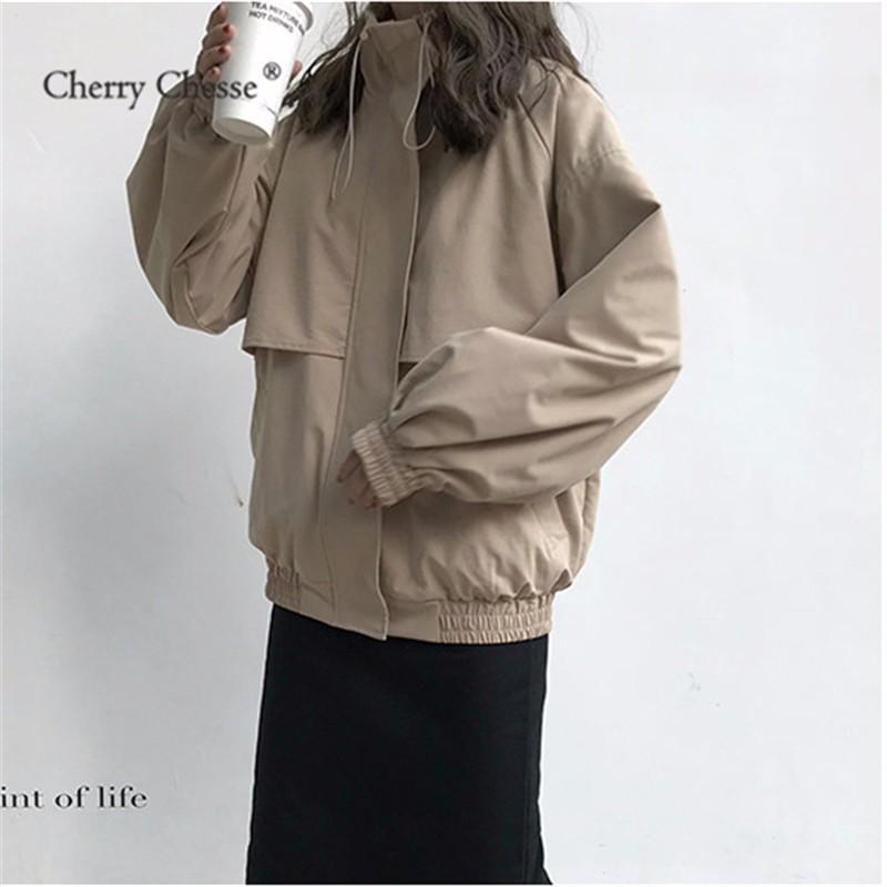 Cherry Chesse Women Fleece Coat Pocket Turtleneck Pocket Patchwork Jacket Female Autumn Winter Tops